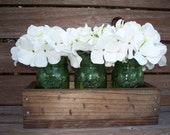 Rustic planter box with 3 vintage green mason jars. Painted Mason Jars. Vase. Table centerpiece. Wedding decor.