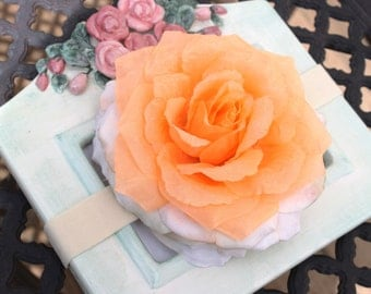 CLEARANCE SALE Creamsicle Orange and Ivory Rose Flower Stretch Headband Photography Prop