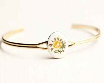 Yellow Flower Locket Bracelet