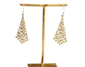 Filigree Dangle Earrings, Dangle Earrings, Handmade Earrings, Light Gold Earrings, Gold Earrings, Elegant Earrings, Triangle Earrings
