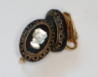 Cameo Earrings Lucite on Black Ovals Gold Trim Clip Earrings