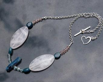 Rose Quartz and Swarovski Crystal Necklace