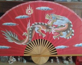 Fan, Large Red Chinese Fabric Dragon Fan