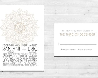 Indian Design Printable Wedding Invitation and RSVP card, modern themed - Download