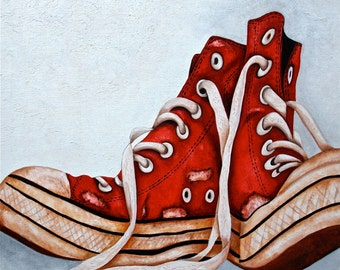 Art Print,  Old Sneakers, Sports Shoes, Red Sneakers  from Original Still Life Oil Painting   by k Madison Moore