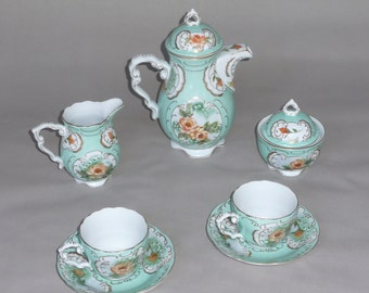 Rococo Style Green Tea Set with Pink and Peach Roses