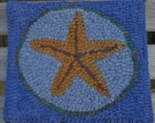 Beginner STARFISH Primitive  Rug Hooking Kit with cut wool strips  Free Shipping