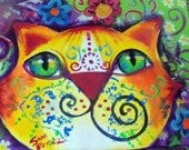 original art  painting colorful mustache cat abstract 8x10 canvas