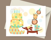Dachshund Birthday Card - PartyWiener and Owls Card with Envelope and Sticker in Fresh Tones - Dog Birthday