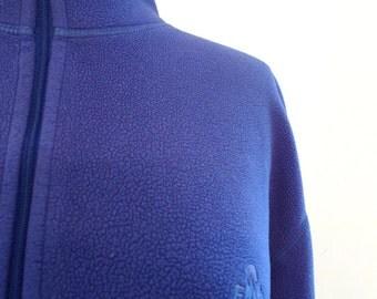 Blue Fleece Half Zip Pullover. Winter Fun EMS Cozy Sweater Top. Med. Bright Indigo Blue Violet Half Zip Cardigan Ski Winter Sports