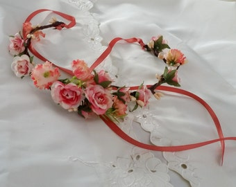 Coral Infant Baby floral headband halo 1st birthday or newborn photo shoot prop peach hair wreath flower girl crown wedding accessories