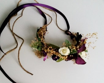 Floral bracelet dried wedding flowers wristlet purple flower girl mothers wrist corsage bridal hair wreath coordinate AmoreBride accessories