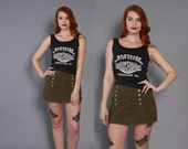 90s OLIVE Green DENIM SHORTS / 1990s High Waisted Bomgo Jeans Mini Skirt Skort