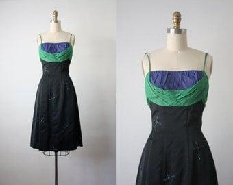roussillon dress / vintage 1950s chiffon party dress