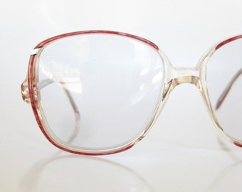Italian Eyeglasses Vintage 1970s Sunglasses Ladies Womens Brown Clear Transparent Made in Italy 70s Oversized Grandma New Wave Fashion