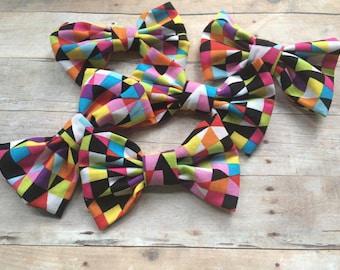 Kaleidoscope Rainbow Fabric Hair Bow, Girls Hairbow, Bow Tie
