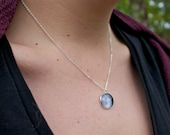 Tiny Custom Moon Phase Necklace - Custom Personalised Moon Pendant Glass Dome full moon Necklace