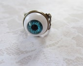 A Bigger Adjustable Blue Eyeball Ring