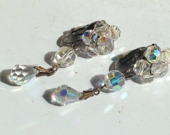 Vintage 40s Earrings Cluster Drop Crystal, Faceted, Dangle, Silver Tone
