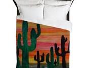 Cactus Sunset Desert Duvet Cover from my artwork.
