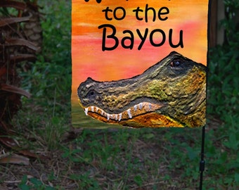 Alligator Head Welcome Yard or Garden Flag from my art. Available in 2 sizes