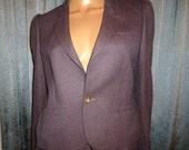 "Vintage 70's - J G Hook - Mauve - Purple - Wool - Military - Fitted - Business - Cropped Coat - Short Blazer - Jacket  - 38"" bust"