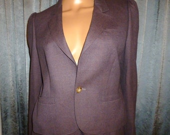 "Vintage 70's - J G Hook - Mauve - Purple - Wool - Military - Fitted - Business - Cropped Coat - Short Blazer - Jacket  - 38"" bust"