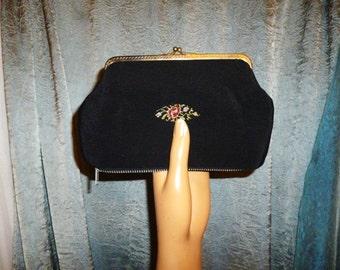 Vintage 40's - Hollywood Regency - Black - Silk - Embellished Floral Tapestry - Kiss Lock - Change - Coin Purse - Wallet