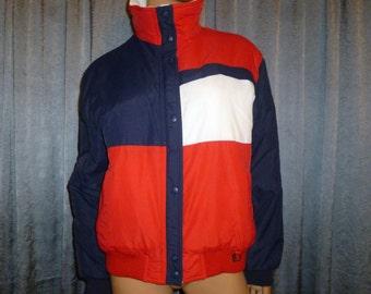 """Patriot Dames - Vintage 80's - Fera - Patriotic - Nautical - Red/White/Blue - Color Block - Ski - Coat - Ladies size 12 - bust size 46"""""""