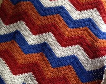 new chevron zig zag ripple baby toddler blanket afghan wrap crochet knit wheelchair stripes VANNA WHITE yarn adult lap robe bold multicolor