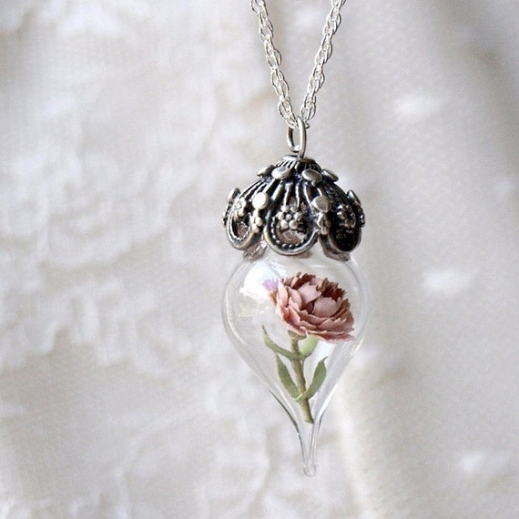 Pink peony tiny flower glass terrarium necklace by for Gemsprouts tiny plant jewelry