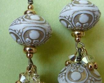 Creamy and gold resin long danglies