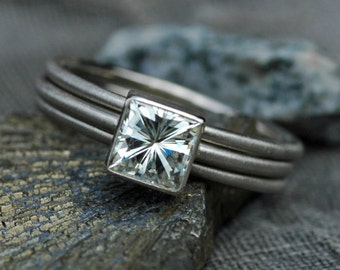 Princess Cut Moissanite in 14k or 18k Gold Ring