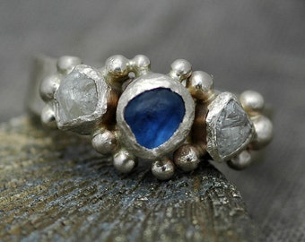 Raw Yogo Gulch Sapphire and Diamond Ring in Recycled 14k or 18k White, Yellow, or Rose Gold