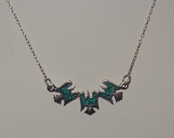 Vintage Sterling Silver and Turquoise Thunderbird Choker Necklace