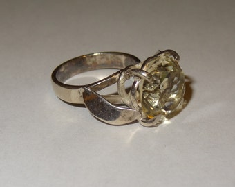 Vintage Sterling Silver and Lemon Quartz Ring Size 6 1/2