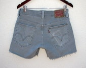 Vintage Levi's 511 Trouser Shorts Faded Gray Green Cut Off Shorts W 32 33, Preppy Levis Unisex Beachwear Summer Shorts