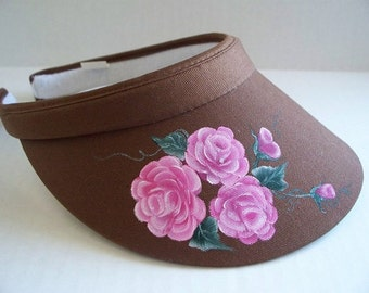 Women's Brown Sports Visor with Handpainted Pink Roses