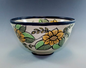 Hand Painted, Pottery Bowl, Ceramic Bowl, Wheel Thrown and Slip Decorated SKU154-007
