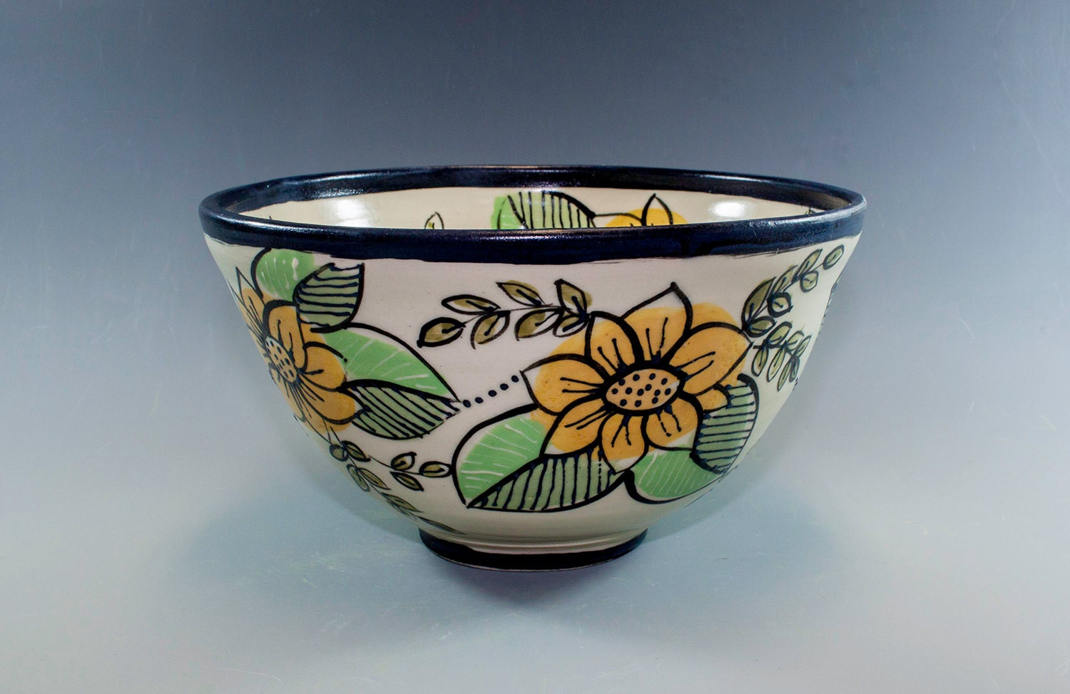 hand painted pottery bowl ceramic bowl wheel thrown and
