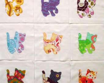 Pretty Kitties Appliqued Quilt Blocks
