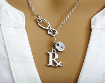Pharmacist PharmD Rx Stethoscope Personalized Initial Graduation Pharmacy Student Gift Lariat Necklace
