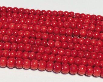 Red coral rondelle beads whole strand