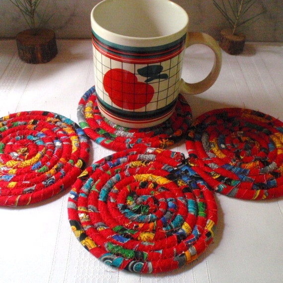 Vibrant Red Coiled Fabric Coasters - Set of 4, Housewares, Kitchen ...