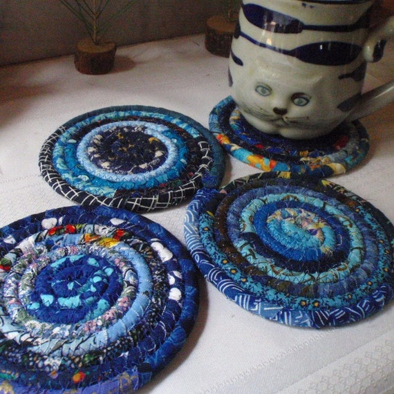 Blue Bohemian Coiled Fabric Coasters - Set of 4, Handmade by Me