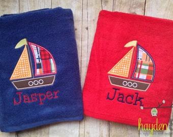Sailboat Applique Beach Bath Towel - Personalized, Monogrammed