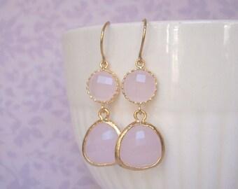 Blush Pink Earrings, Gold Earrings, Bridesmaid Earrings, Best Friend Birthday