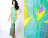 Vintage 60s Tropical Floral BAMBOO Print BARKCLOTH Tiki Waikiki Dress by KANEBO // Vintage Hawaiian Dress (sz xS S 0 2  )
