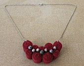 Fibre Art Necklace One of a Kind Burgundy Fabric Necklace Bib Necklace Statement Necklace Modern Jewelry