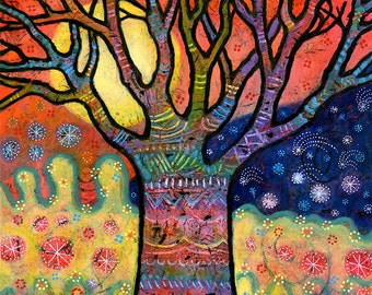 Whimsical Tree Canvas Print. Tree Art Print. Colorful Tree Art for Wall. Tree Print Art. Tree Artwork. Celestial Tree Art Print.